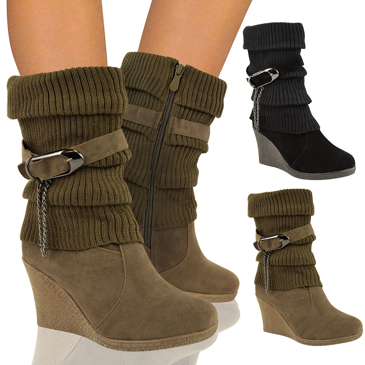 Ladies Calf Ankle Boots Mid High Wedge Heel Winter Sock Biker Knee ...