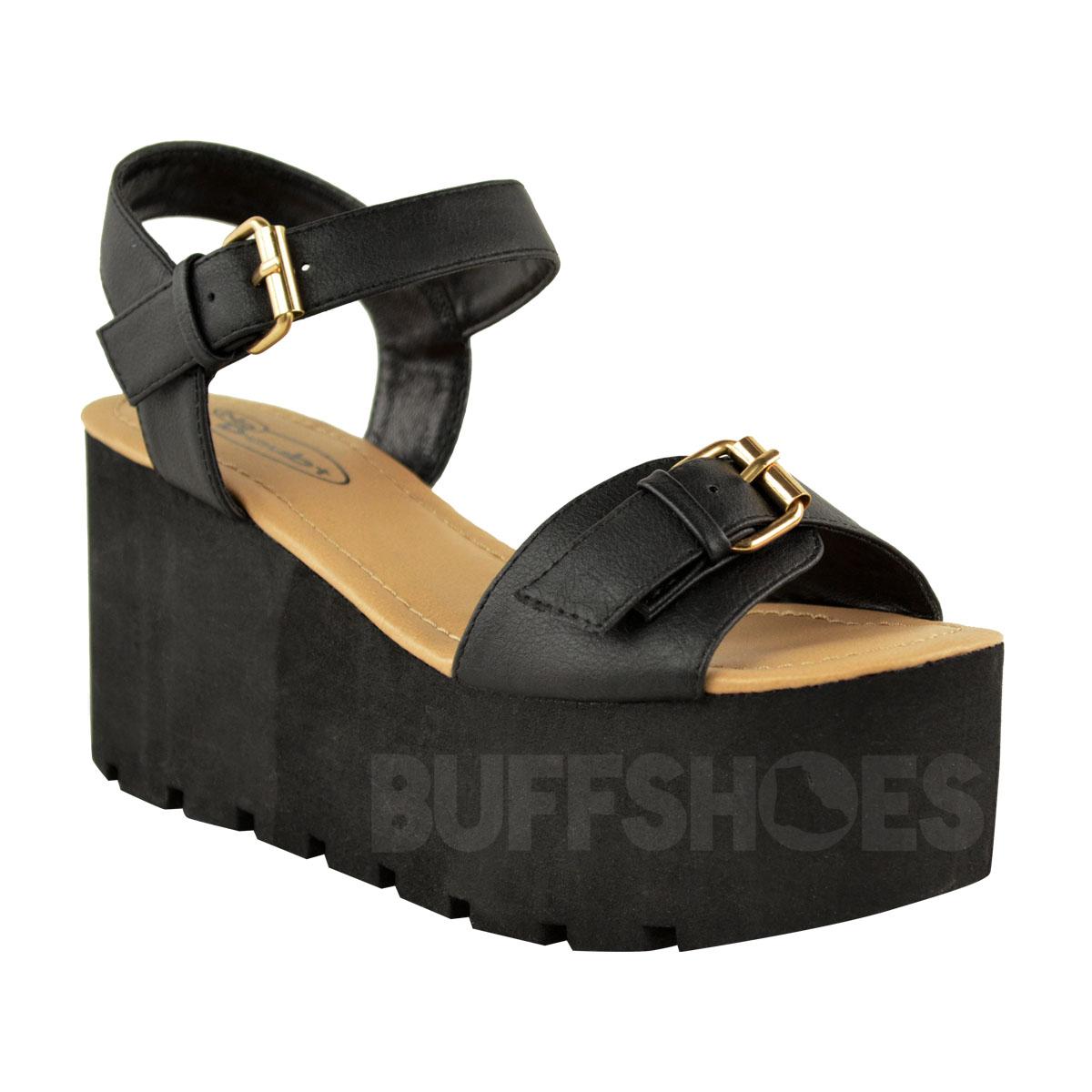 womens chunky sole flatform summer sandals wedges