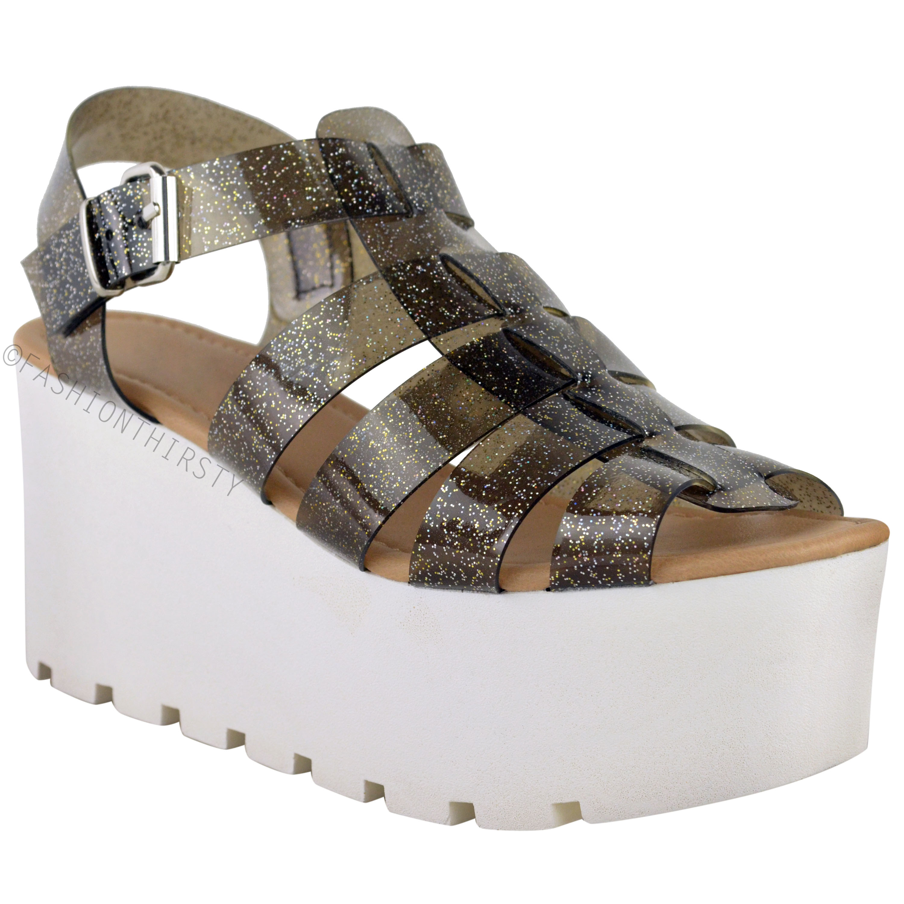 womens retro jelly sandals chunky sole flatforms
