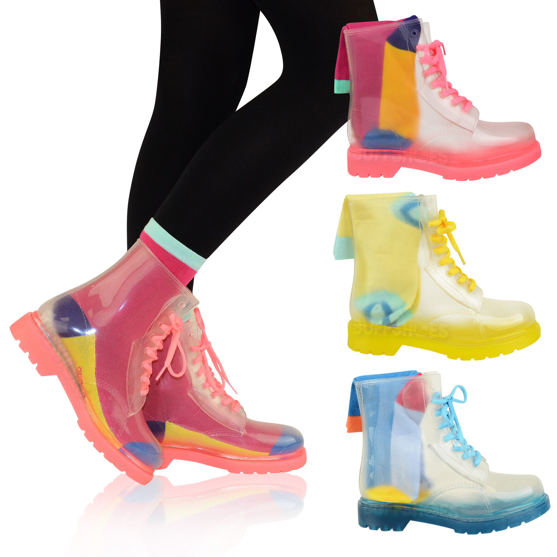 WOMENS LADIES FLAT CLEAR FESTIVAL JELLY WELLIES LOW ANKLE RAIN ...