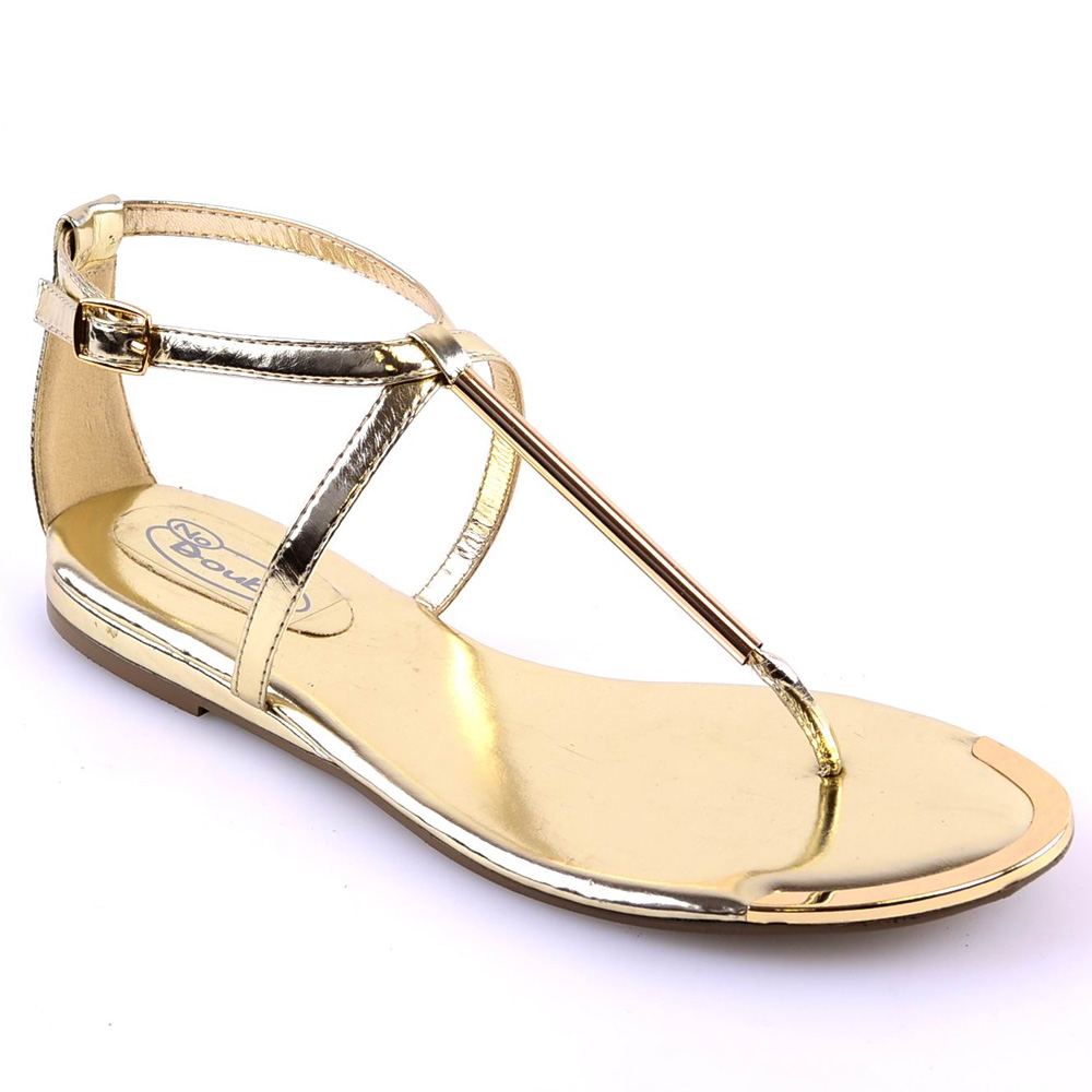 LADIES WOMENS T-BAR SUMMER SANDALS GOLD TRIM BUCKLE FLAT ...