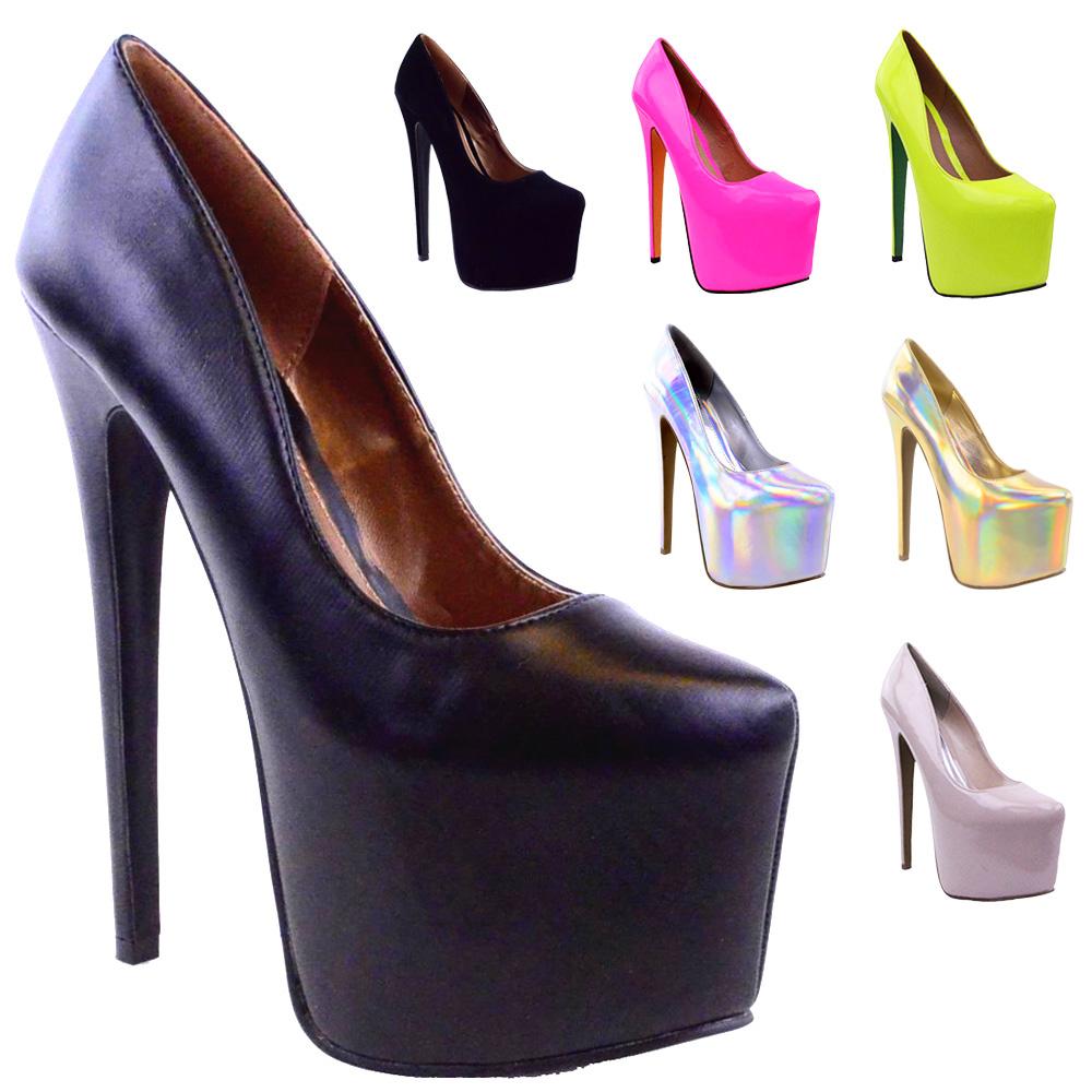 womens black platform 7 inch high heel stiletto