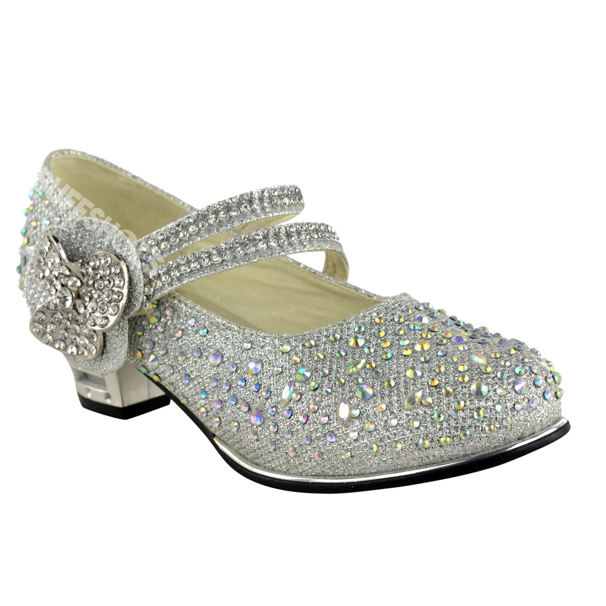 CHILDRENS GIRLS KIDS MID LOW HIGH HEEL DIAMANTE PARTY SHOES BRIDAL