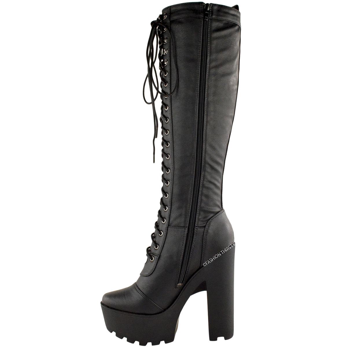 femmes talon haut hauteur genou bottes lacet bloc semelle compens e motard ebay. Black Bedroom Furniture Sets. Home Design Ideas