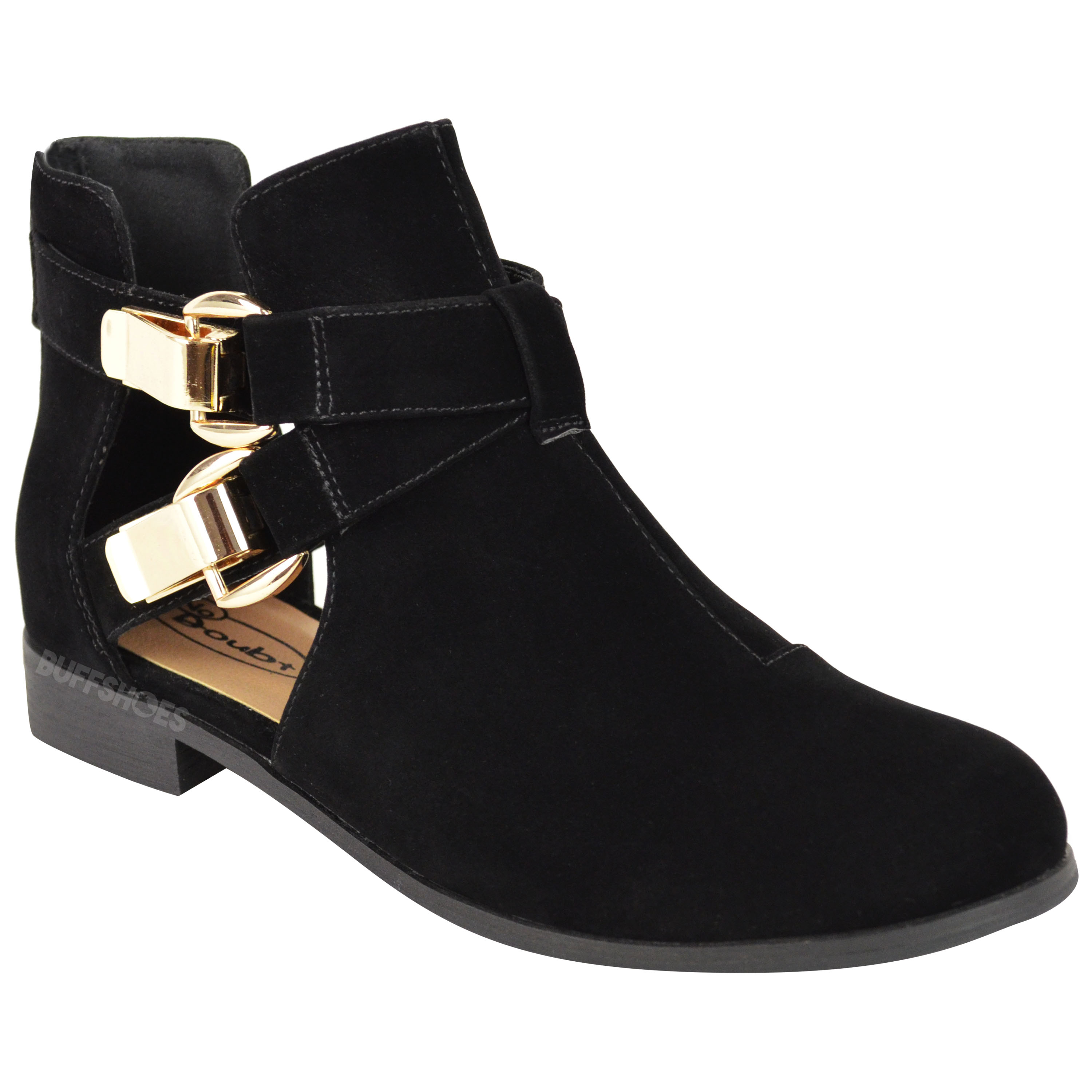 womens flat low heel strappy cut out biker chelsea
