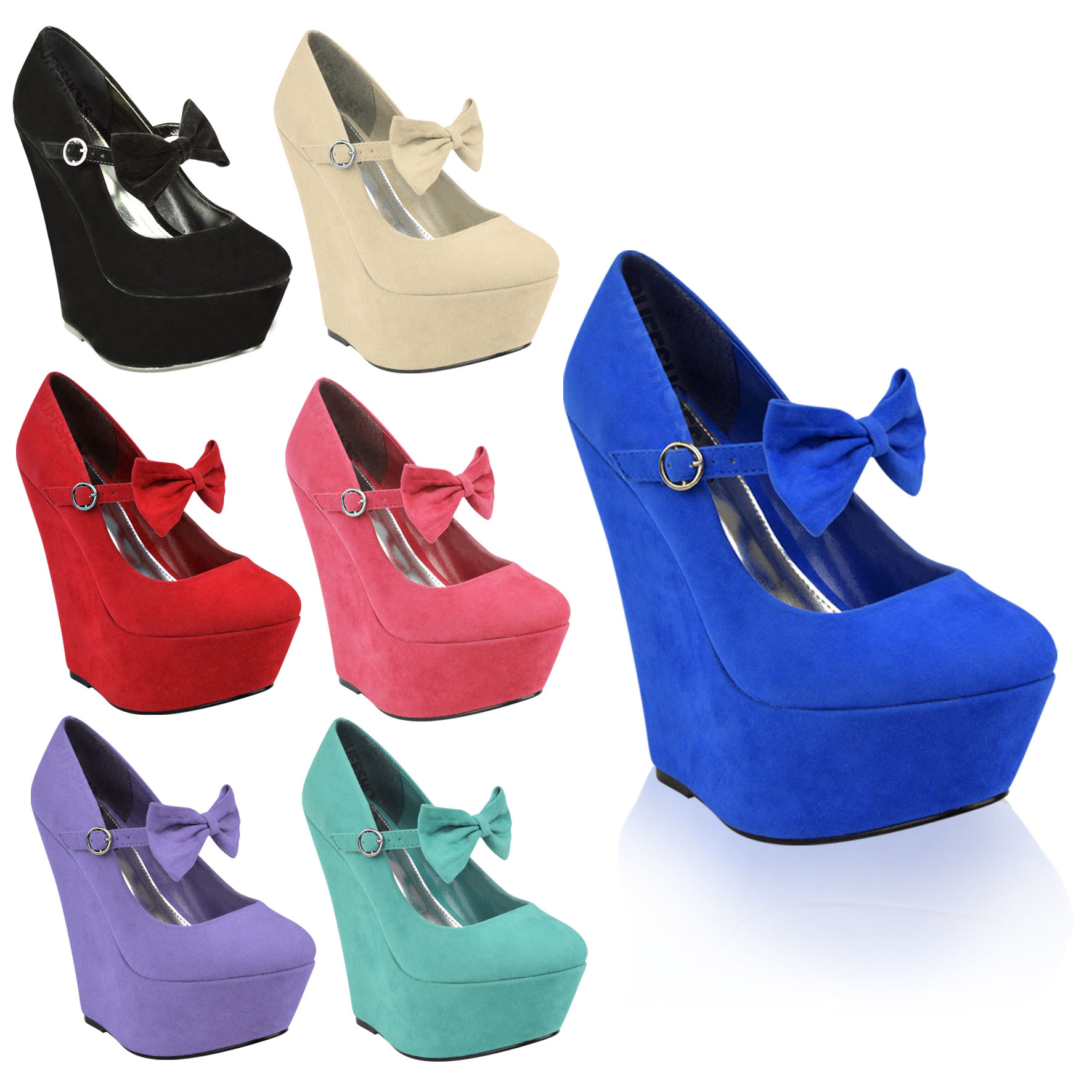 ladies womens party bow strap high heels platforms wedges