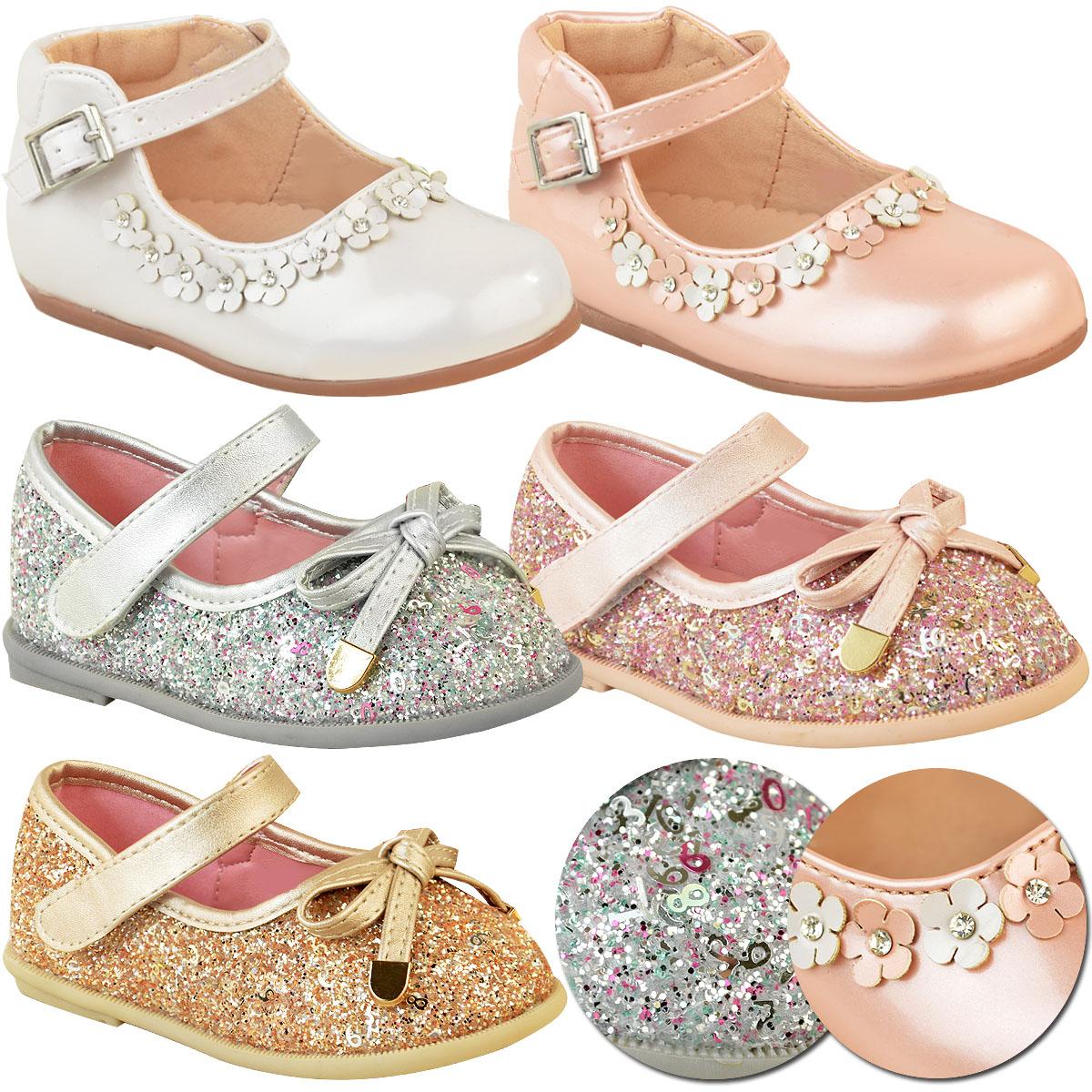 Girls Infant Children Pink Satin Flower Girl Ballerina Shoes Wedding Bridesmaid