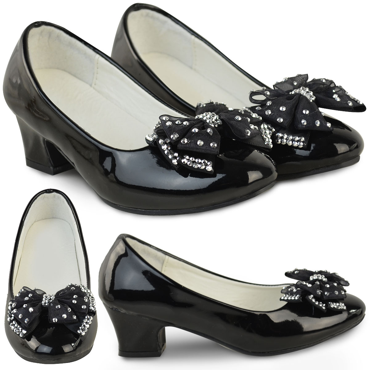 3ee129874ac Details about Kids Girls Childrens Low Heel Sandals Smart Bow Diamante  Sparkly New Black Shoes