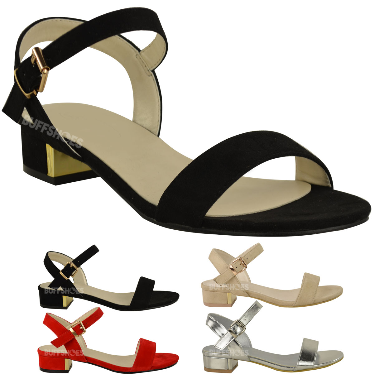 2fcce836f Details about Womens Ladies Low Flat Block Heel Open Toe Summer Sandals  Black Buckle New Size