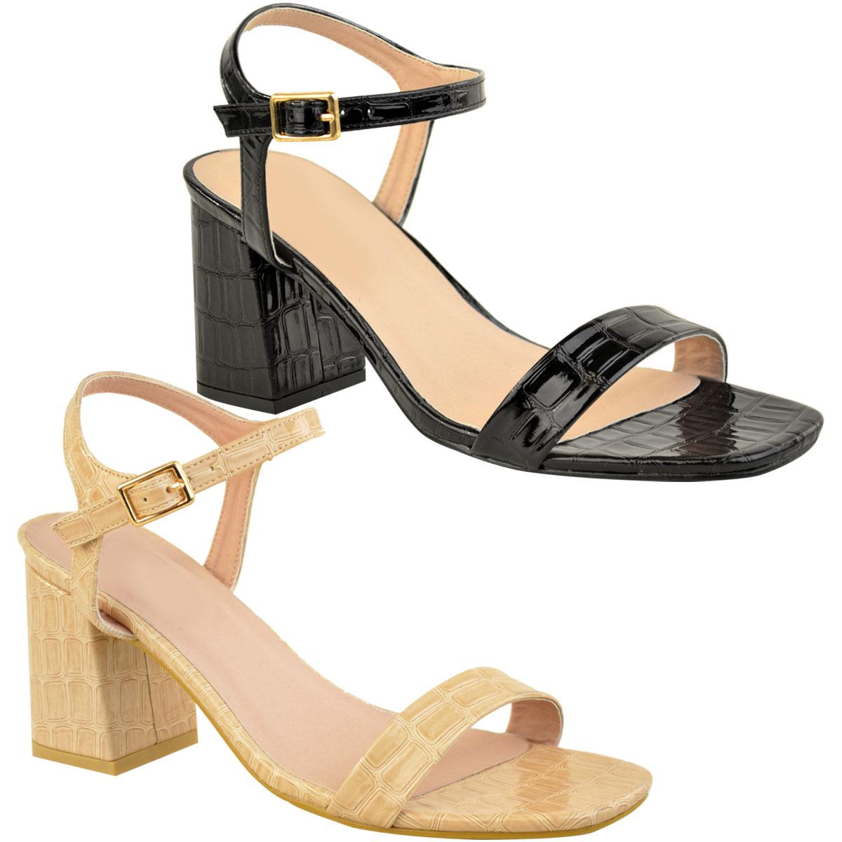 NEW Women Low Mid Heel Sandals Ankle Buckle Ladies Smart Slingback Summer Shoes